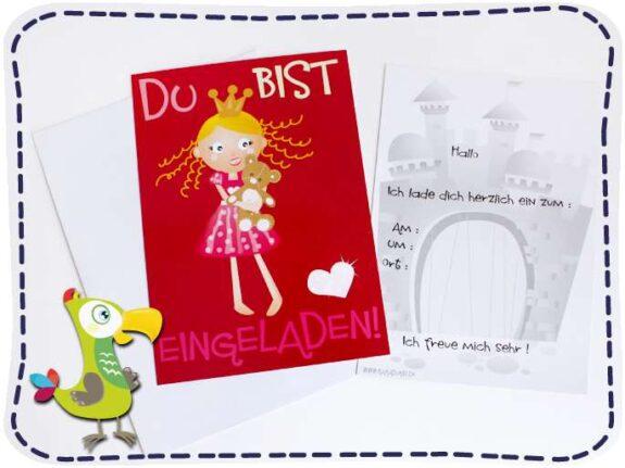KakaduKid Prinzessin Einladungskarte