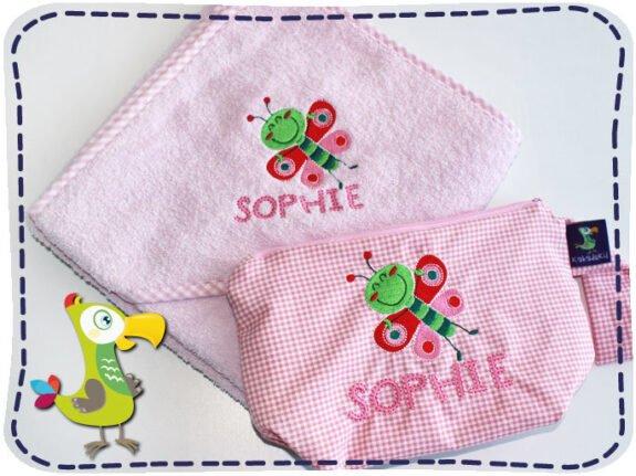 KakaduKid Schmetterling Handtuch und Tasche