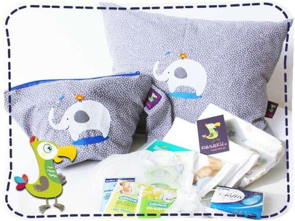 KakaduKid Vogel und Elefant Kombi mit Wickel-Kit