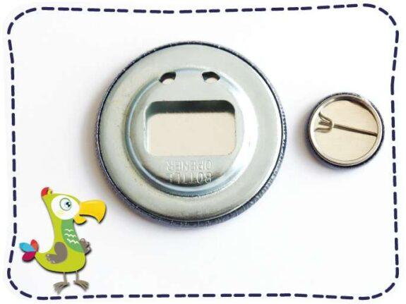 KakaduKid Flaschenöffner und Button Rückseite