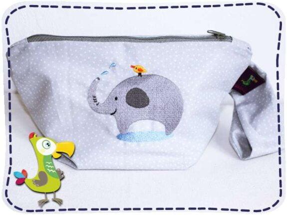 KakaduKid hellgraue Tasche mit Vogel und Elefant Motiv