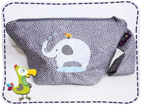 KakaduKid dunkelgraue Tasche mit Vogel und Elefant Motiv