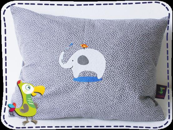 KakaduKid Vogel und Elefant Kissen grau mit Punkten