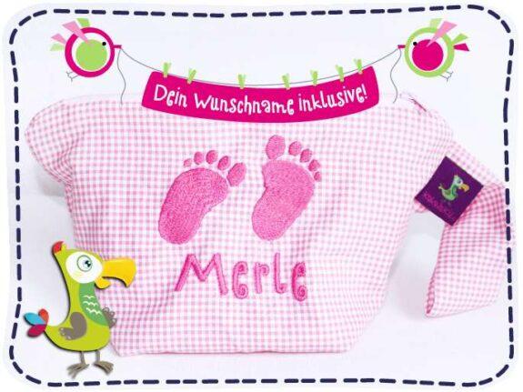 KakaduKid Babyfüßchen in rosa mit Namen bestickt