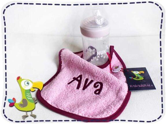KakaduKid Lätzchen mit rosa Flasche-Ava